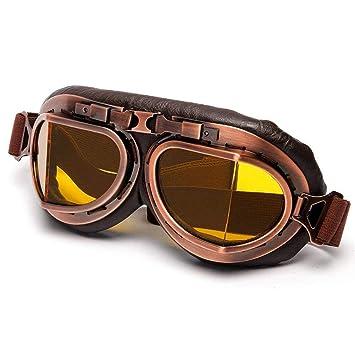 Demana Gafas de Casco para Motocicleta Aviator para Harley Davidson Chopper y Scrambler, Gelb Linse