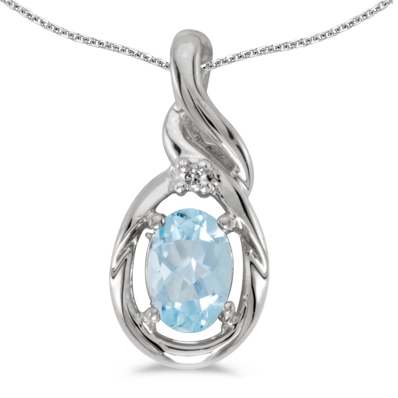 0.47 Cttw. FB Jewels Solid 10k White Gold Genuine Birthstone Oval Gemstone And Diamond Pendant