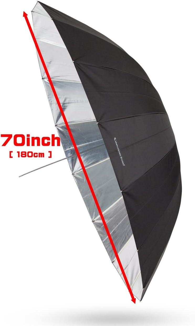 UNPLUGGED STUDIO 40inch Silver Umbrella 16 Fiberglass Rib,Includes Portable Carrying Bag UN-017