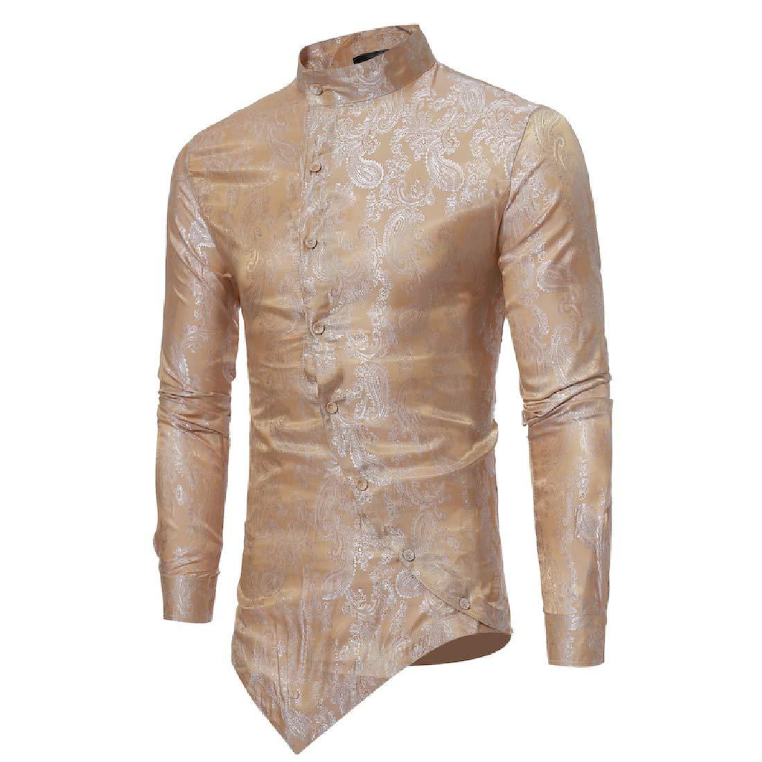 WAWAYA Mens Basic Stand Collar Button Down Irregular Hem Print Dress Shirts