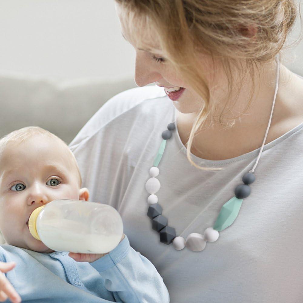 TYRY.HU B/éb/é Collier de Dentition Pour Maman /à porter silicone anneau de dentition BPA gratuit de qualit/é alimentaire jouets de dentition /à croquer perles pour lallaitement allaitement Gris