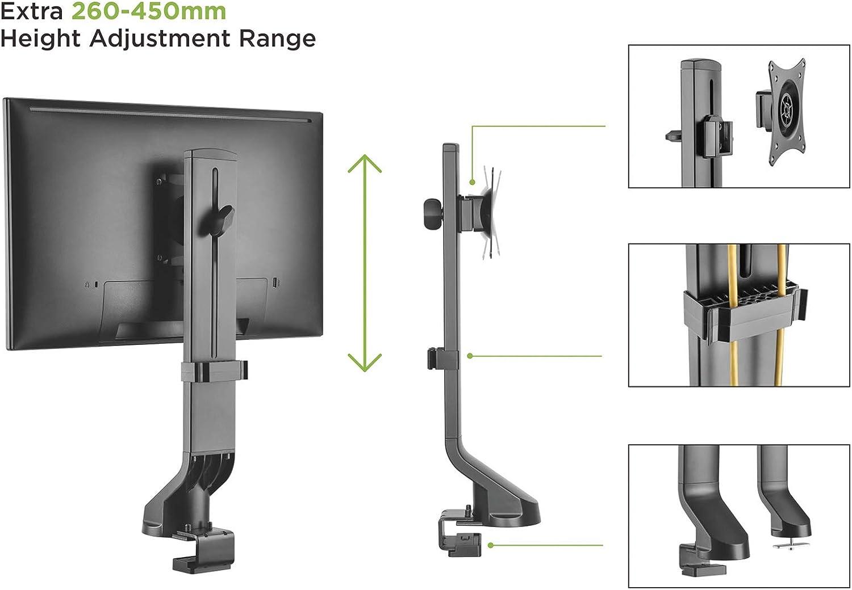 Value Support pour écran LCD | Bras de Moniteur | Montage de Table | pour Fixation des écrans avec VESA 75 ou VESA 100 au Bureau | Gestion des câbles