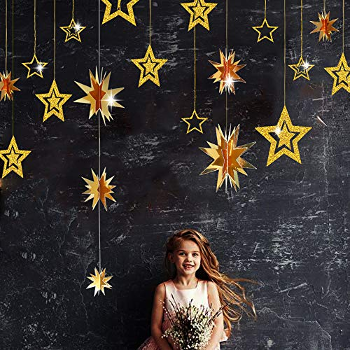 (Gold Twinkle Star Party Decoration Kit Metallic Glitter 3D Hanging Star Bunting Garland Twinkle Star Cutouts Decor for Nursery Kids Boys Girls room Birthday Wedding Baby Shower Christmas Party Supply)
