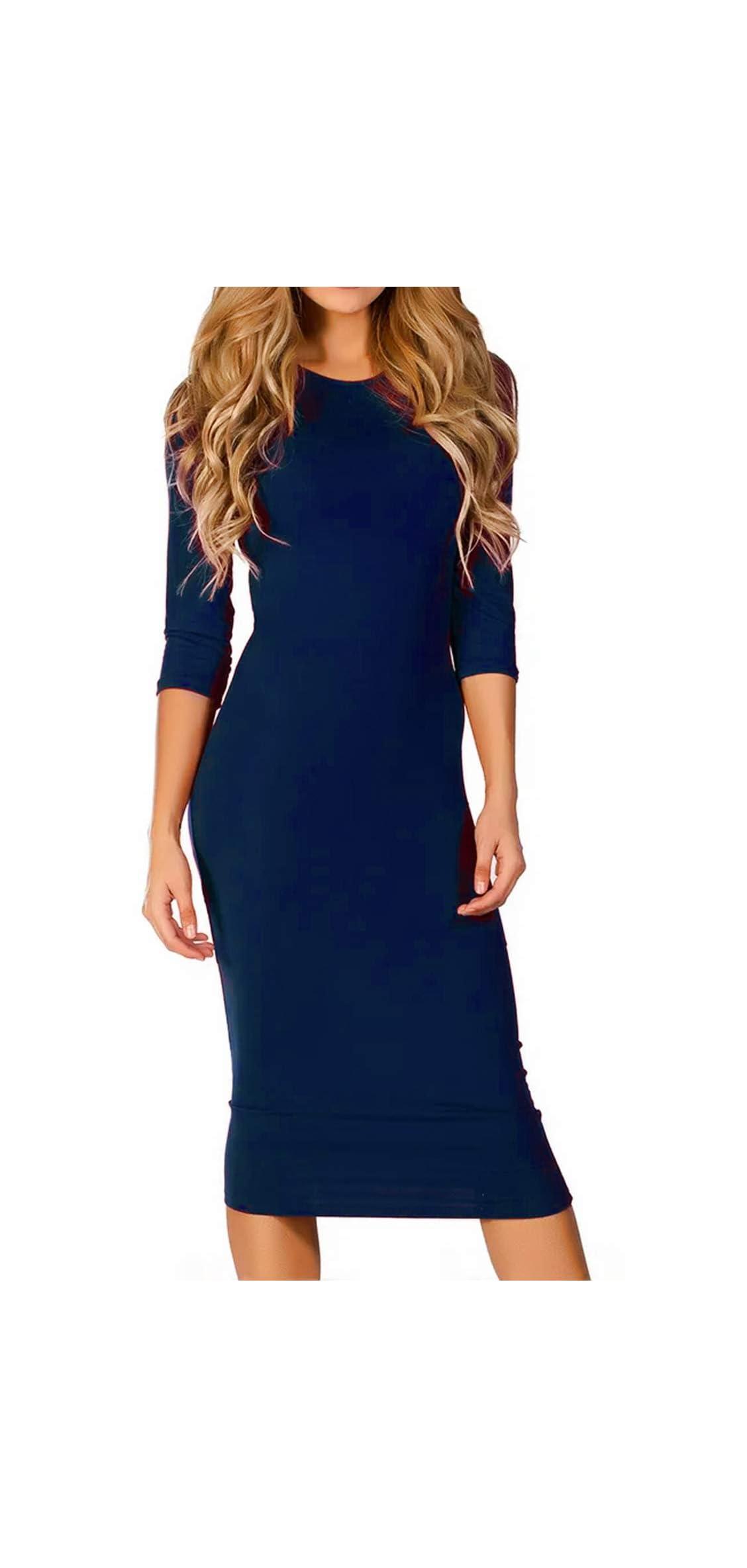 Women's / Sleeve Bodycon Midi Dress Crew Neck With