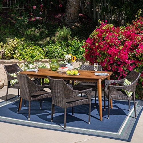 Dining Set Teak Table Rectangular (Great Deal Furniture 304194 Ben Outdoor 7 Piece Multibrown Wicker Set with Teak Finish Rectangular Acacia Wood Dining Table)