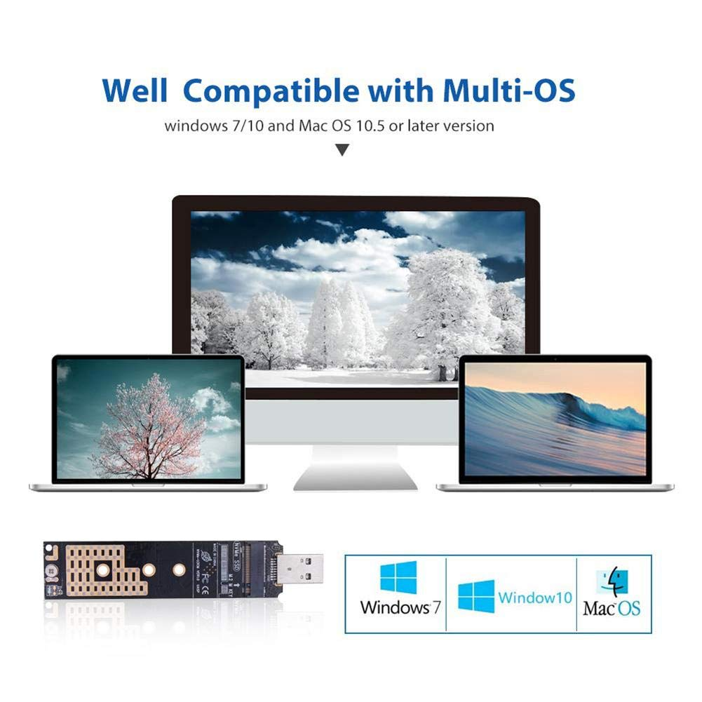 emotus NVME to USB Adapter M.2 SSD to USB 3.1 Type A Card Hard Drive Converter Aluminum Alloy Adapter