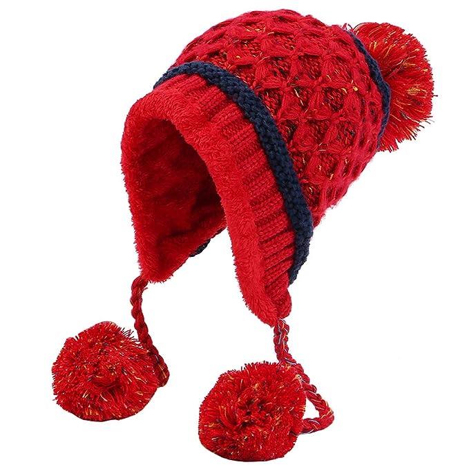 aa8e1742f Xinqiao Women Winter Peruvian Beanie Fleece Lined Skull Earmuffs Cap ...