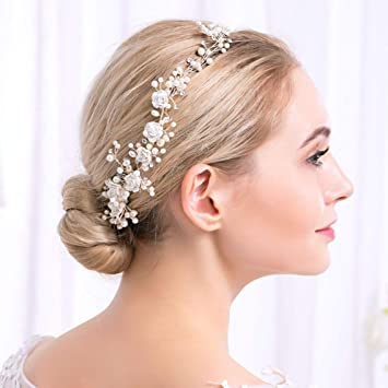 Deniferymakeup Bridal Pearl Branch And White Flower Hair Vine Hair Halo Hair Wreath Wedding Hair Comb Headband Bridal Headpiece Crystal Headband