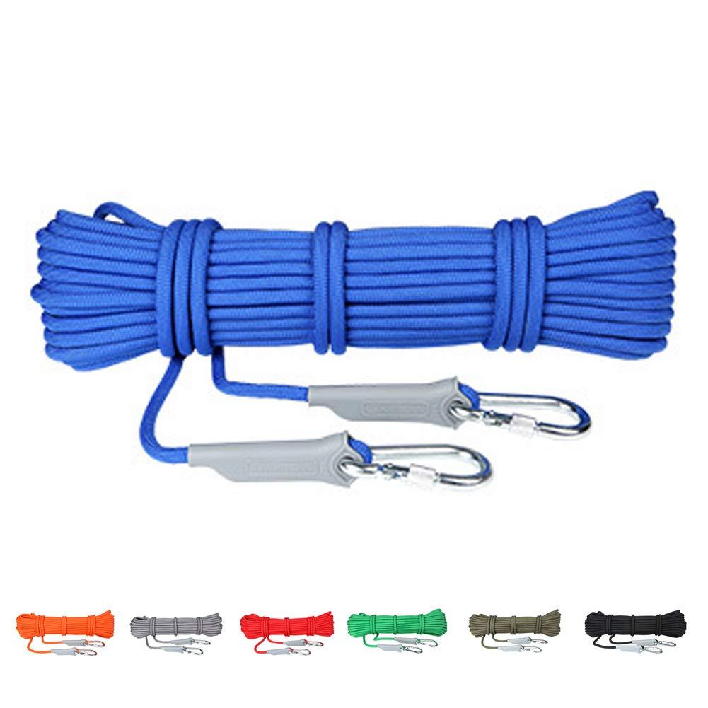 Bleu AMCER Extérieure Alpinisme Sauvetage Corde 8mmx30m, Bleu Fibre de Polypropylène Corde Auxiliaire avec 2 Mousquetons, pour Sport Escalade Alpinisme Grimpe Descente 9.5mmx40m
