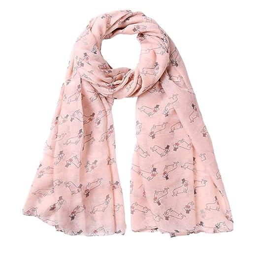 Women Fashion Ladies Dog Animal Printed Soft Chiffon Shawl Wraps Scarf Scarves