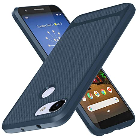 BESTCASESKIN Funda Google Pixel 3A XL Carcasa [Textura Fibra de Carbono] Ligera Silicona Suave Slim Fit TPU Case [3D Cristal Templado] Protección ...