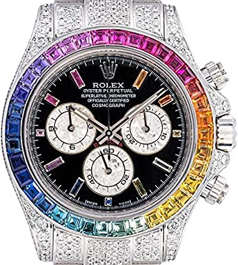 Custom Diamond Set Rainbow Rolex Daytona oro blanco de 18 quilates 116509: Amazon.es: Relojes