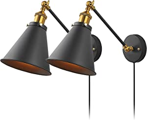 Upgraded Industrial Bedroom Wall Lamps Plug in with Switch Vintage Wall Reading Light Simplicity Sconces Set of 2