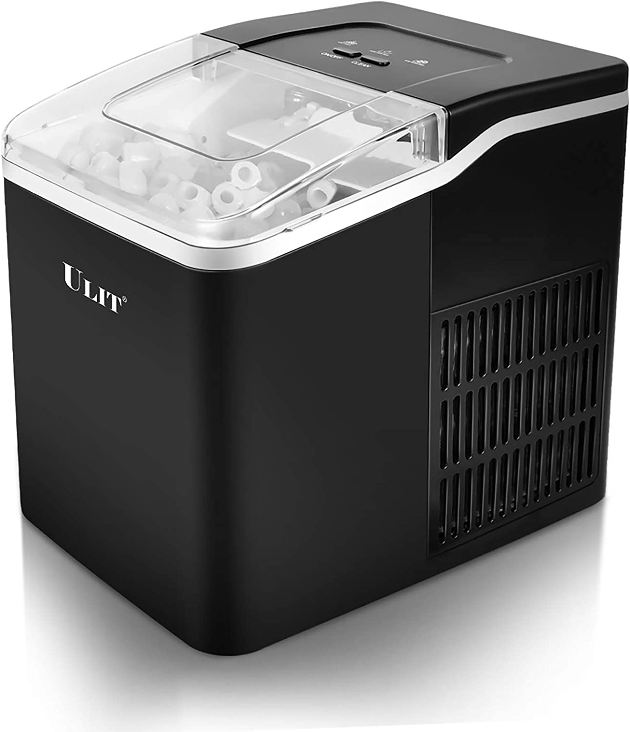 ULIT Ice Maker Countertop, Makes 26 lbs. Ice in 24 Hours,9 Ice Cubes Ready in 8 Minutes, Countertop Ice Maker machine with Ice Scoop and Basket, fit for home party, 1.6 lbs. Ice Storage (Black)