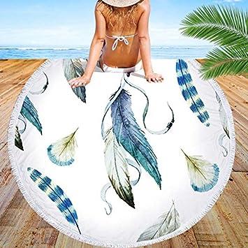 GSYAZTT Nuevas Ilustraciones de Arte Personalizado Toalla Redonda Ropa de Playa para Adultos Nadar Tela de Microfibra Gran Yoga Mat Textiles para el Hogar ...