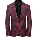 CCXO Mens Slim Fit Casual Floral One Button Blazer Jacket (XXXXXL, Red)