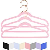 "MIZGI Kids Velvet Hangers,14"" Wide with Copper/Rose Gold Hooks,Space Saving Ultrathin,Nonslip Hangers,Petite Hangers…"