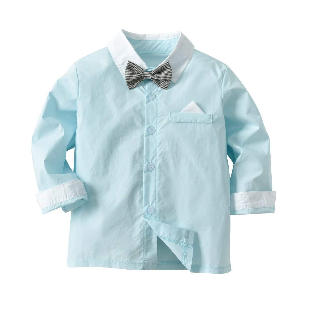 Color : Pink, Size : 4-5Y 2-6Y Boys Gentleman Suit Long Sleeve Bow Tie Shirt+Suspender Pants Clothes Set