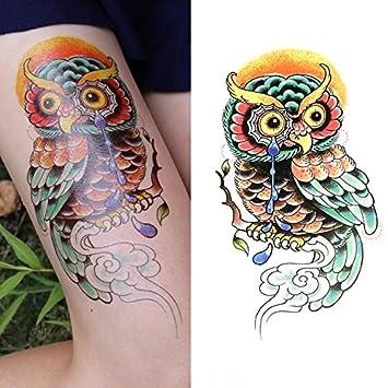 Oottati Tatuajes Temporales Old School Lágrimas Búho (2 hojas ...