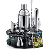 Bokhot Bartender Kit, 14 Piece Cocktail Shaker Set Stainless Steel Bar Tools with Rotating Stand, 25 oz Shaker Tins, Jigger,