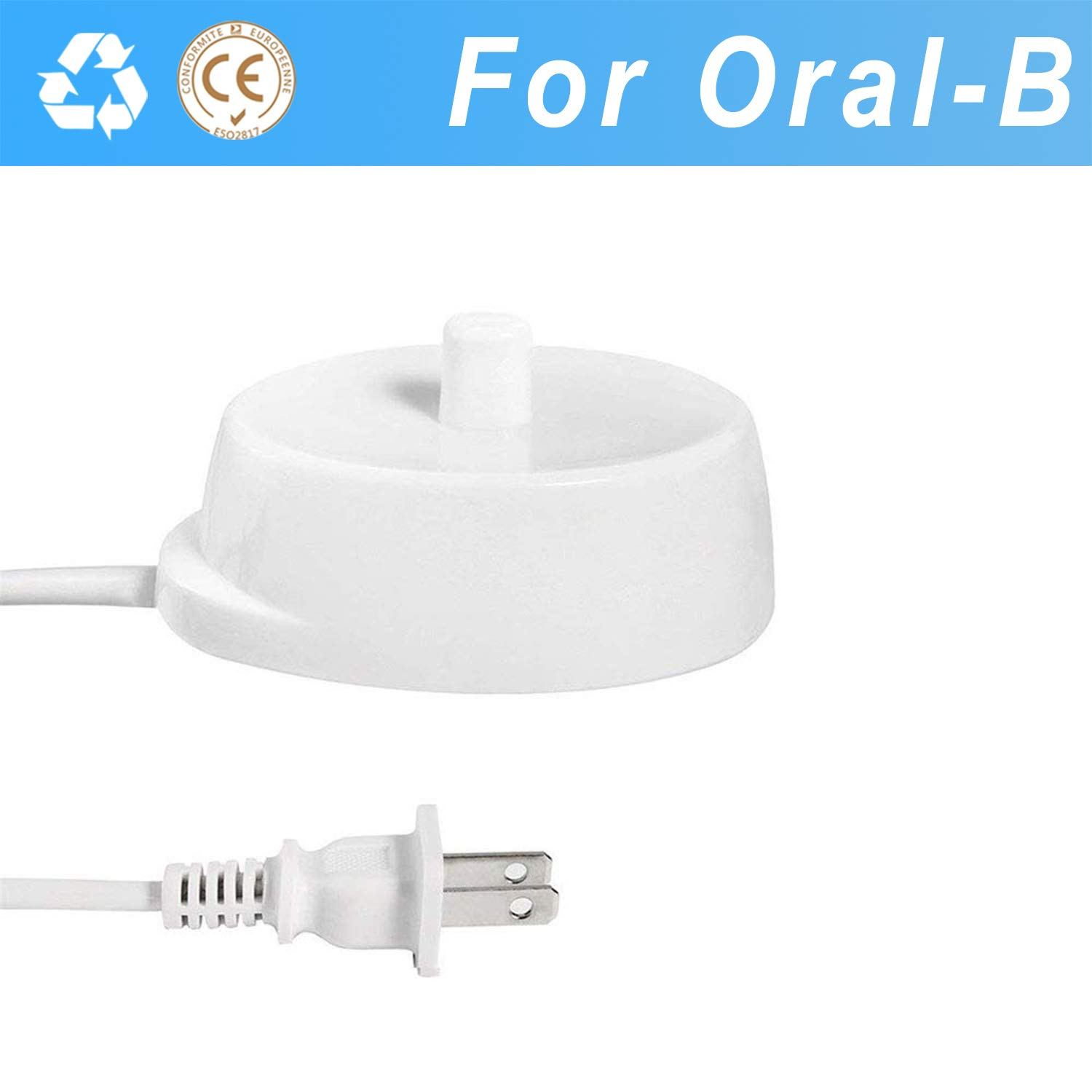 For Braun Oral B Electric Toothbrush Replacement Charger,Waterproof Inductive Charging Base Model 3757 Portable Environmental ABS For Travel (110V-240V)