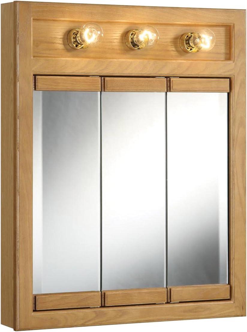 Design House 530592 Richland Lighted Mirrored Medicine Cabinet, Nutmeg Oak, 24