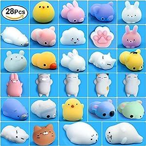 Mochi Squishy Toys, 28 Pcs Kawaii Squishies Mini Animals Stress Toys, Cute Squishy Toys Stress Reliever, Mini Seal Bear Cat Pig Smile Cloud Squishies Searick