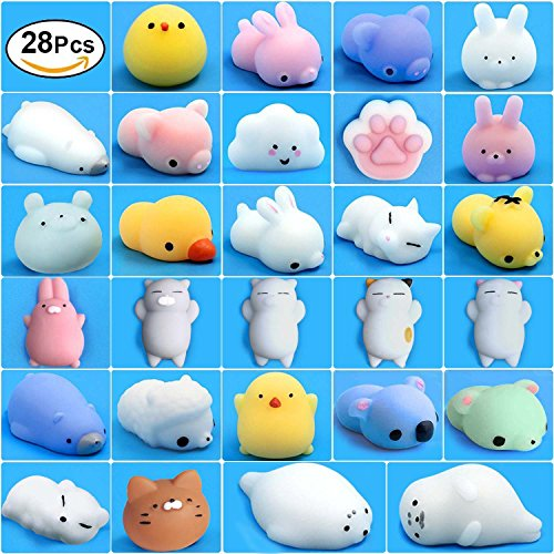 Mochi Squishy Toys, 28 Pcs Kawaii Squishies Mini Animals Stress Toys, Cute Squishy Toys Stress Reliever, Mini Seal Bear Cat Pig Smile Cloud Squishies Searick