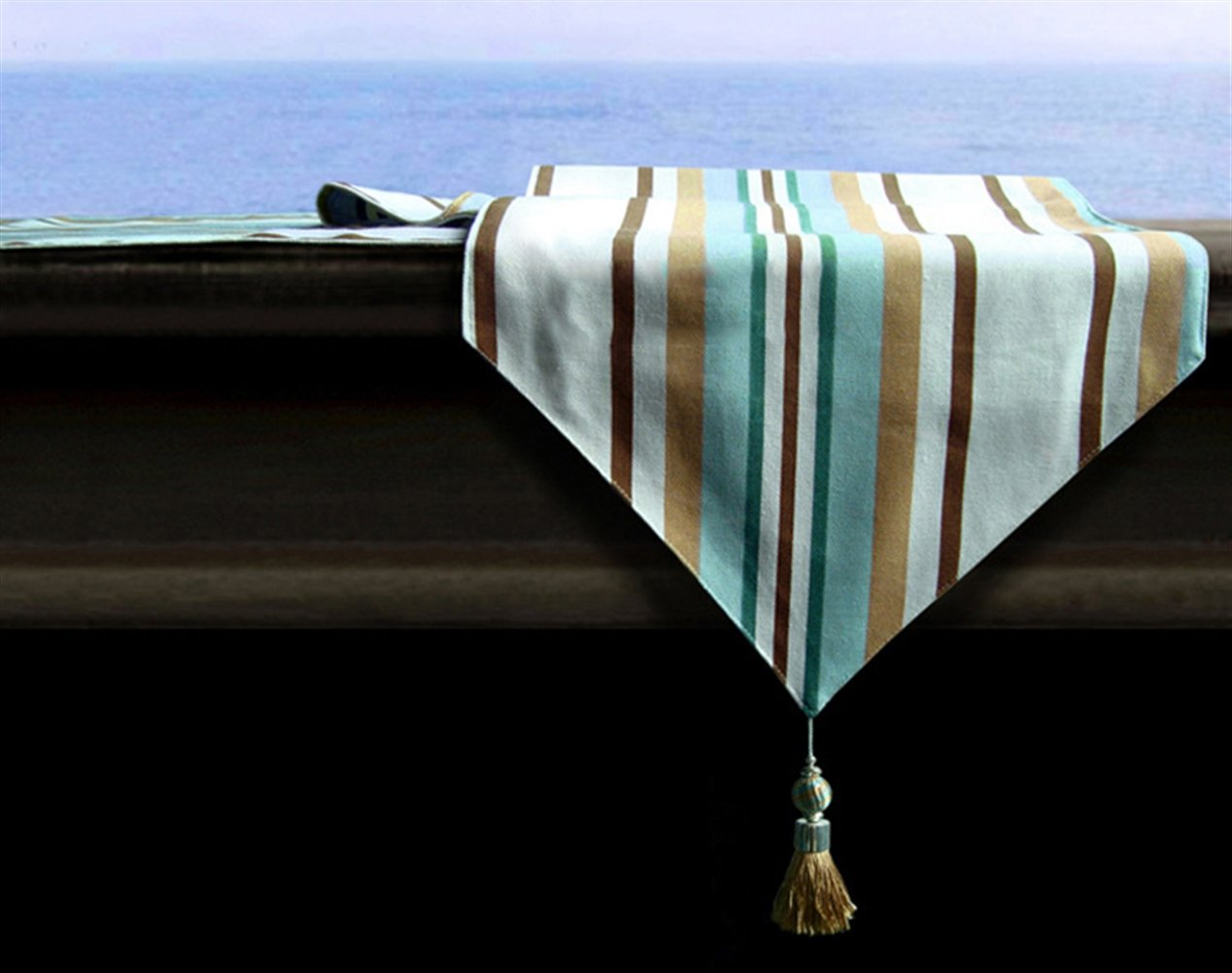Liveinu Handmade Table Runner with Tassel Triangular Decorative Burlap Tablecovers for Dinner Parties, Spring Wedding & Everyday Use Stripe Pattern Blue 46''x12''