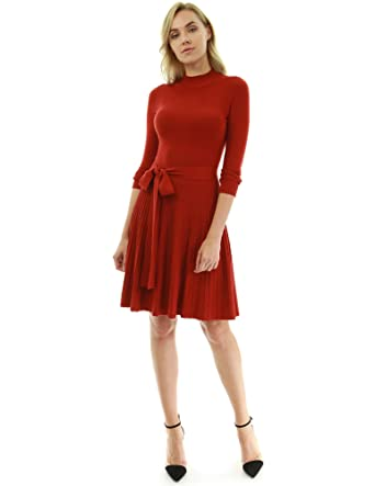 efa6068dd3b PattyBoutik Women Mock Neck Fit-and-Flare Knit Sweater Dress (Deep Red X