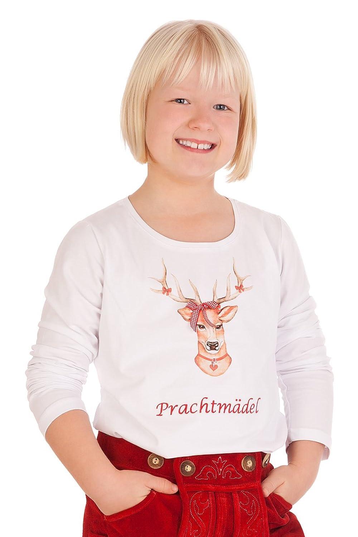 Kinder Trachten Fun Shirt - PRACHTMÄDEL - weiß