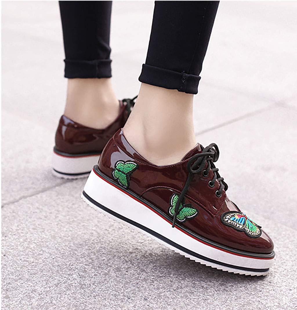 HRN Frauen runden Schuhe künstliche PU dicken unteren runden Frauen Kopf Muffin mit Schuhe Wedges Schnürschuhe Casual Schuhe britischen Wind,rot,43EU 042539
