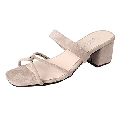 0fcdf46c8cf Amazon.com : SUKEQ Women Square Open Toe Chunky Heel Slide Sandals ...