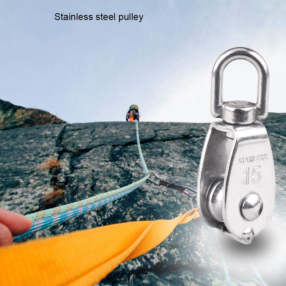 Outdoor Gadget,Stainless Steel Single Pulley/Double Pulley/Lifting/Driving Wire Pulley/Traction Wheel/Wire Rope Pulley