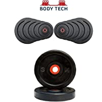 Body Tech Rubber Weight Plates,20KG (Black)-RUBBERP20