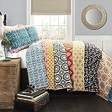 Lush Decor 3 Piece Bohemian Stripe Quilt Set, King, Turquoise