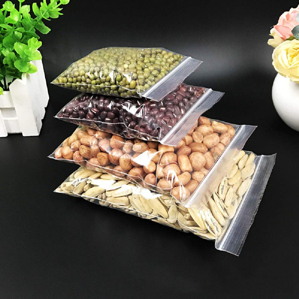 Resealable Clear Plastic Bags Grip Seal Bags Food-Grade Sealed Storage Pouches,Clear Ziplock Bags Small Plastic Bags with Seal Thickening Durable 400PCS