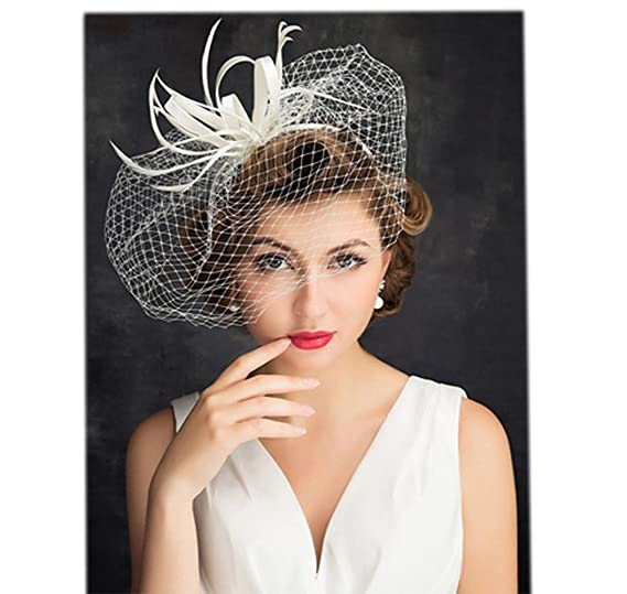 YSJOY Womens Feather Veil Mesh Flower Fascinator Bridal Bridesmaids Wedding  Hair Aceessory Church Kentucky Derby Hat 94a7c3a79aa