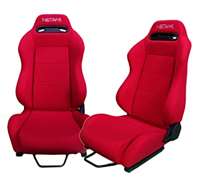 Amazon.com: Netami NT-2911 Fully Reclinable Type R Racing Seat (Red ...