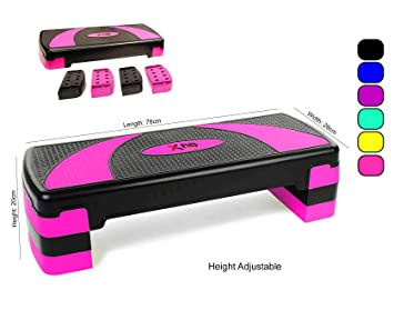 Bloque de goma ajustable para step, de XN8, para ejercicios de cardio, fitness, aerobic o yoga, rosa: Amazon.es: Deportes y aire libre