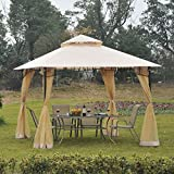 Outsunny 10' x 10' Steel Outdoor Garden Gazebo with Mosquito Netting - Black/Beige