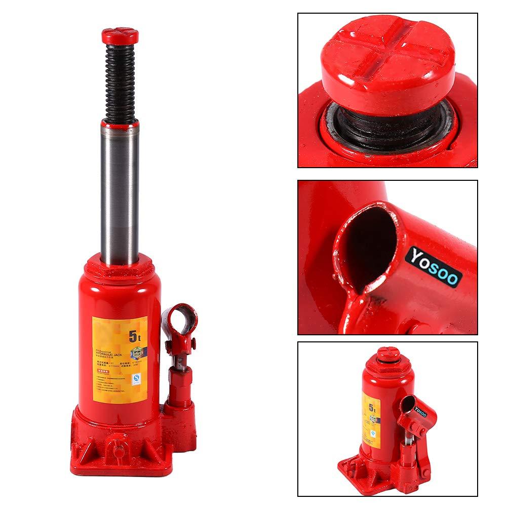 Ejoyous Cric Hydraulique 2T Robuste Voiture Cric Bouteille Hydraulique en M/étal pour Le Remplacement de Pneu de Camion de VUS Rouge