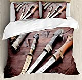 Arabian Duvet Cover Set by Ambesonne, Arabian Ancient Daggers Knife Ancient Weapon Symbol of Protection Culture Picture, 3 Piece Bedding Set with Pillow Shams, King Size, Redwood