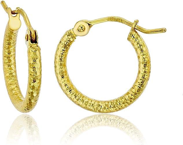 2mm Diamond Cut Endless Large Huge Hoop Earrings 60MM Pure 14K Solid Yellow Gold