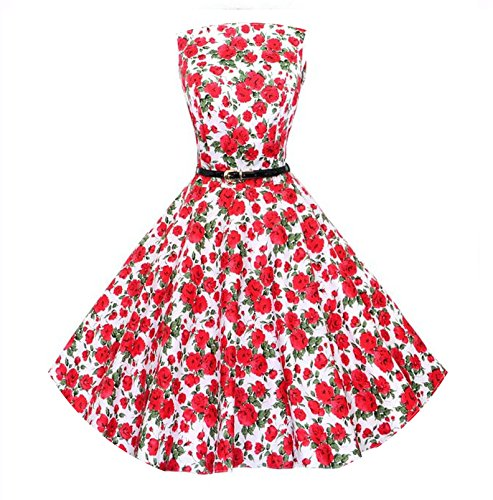 Summer-lavender Women Red Black Vintage Dress 50s Rockabilly Robe Retro Party Dresses,867 red,S ()