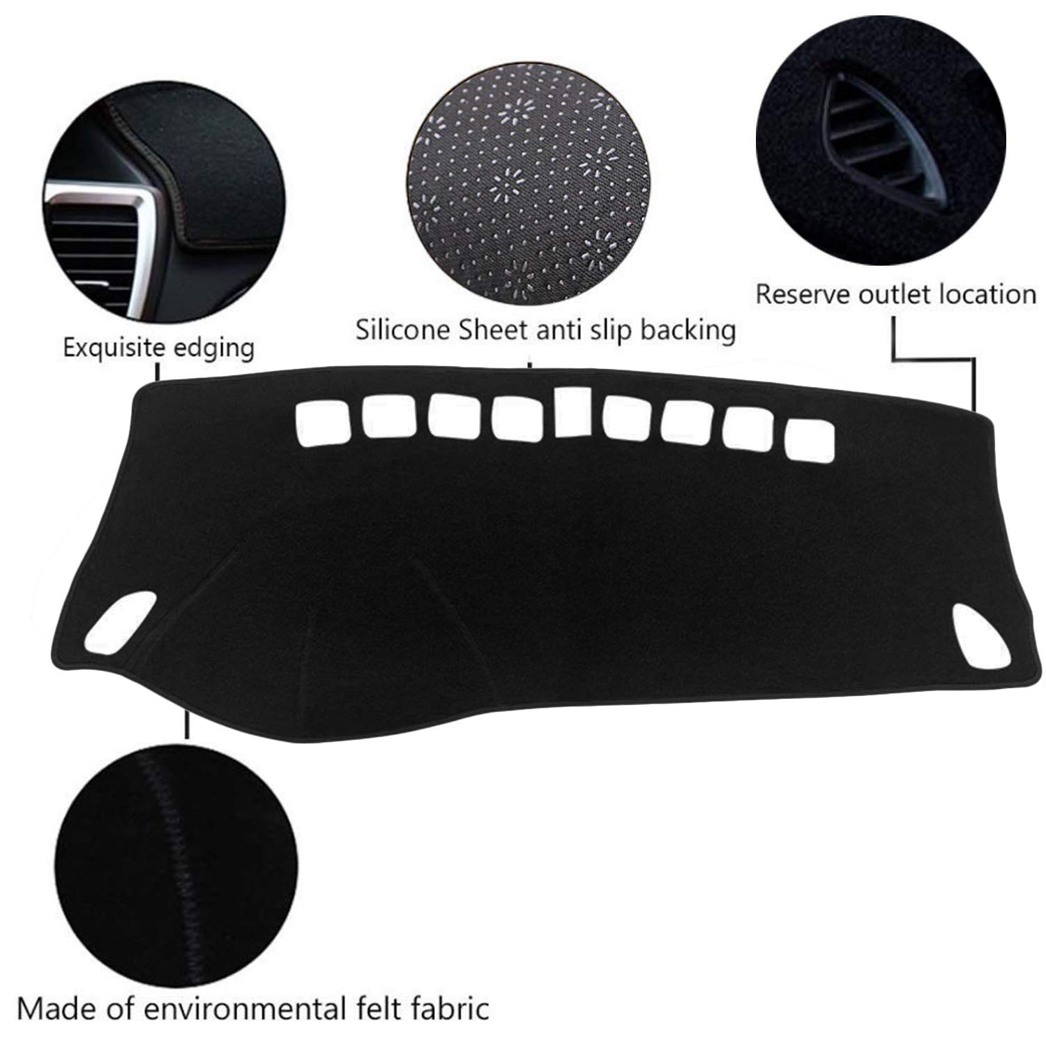 Autoxrun Black Carpet Dashboard Cover Dash Mat Protector Sunshield Cover Fits 2013-2019 Buick Encore