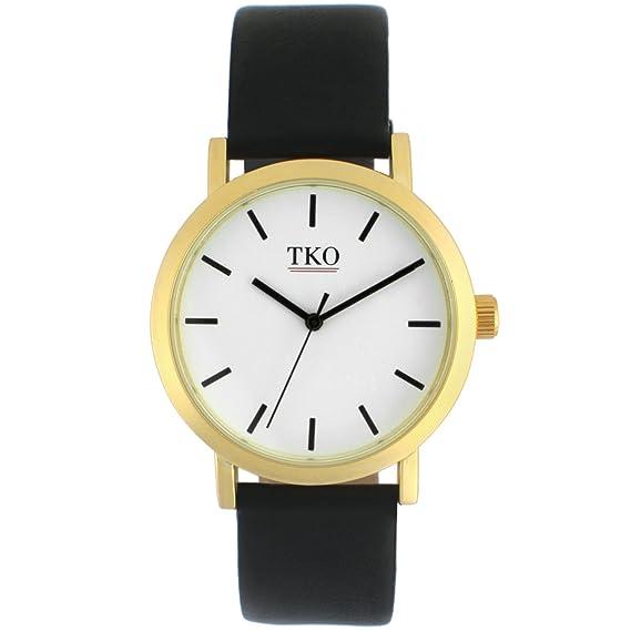TKO - moderno en todo el mundo viajero funda de oro mate color blanco cara negro piel banda reloj: Amazon.es: Relojes
