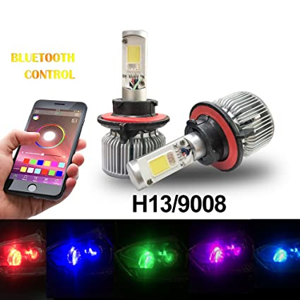 Amazon Beatto H13 9008 RGB LED Headlight Bulb Kit Conversion APP Bluetooth Control Multi Color Lights With Voice And Music Controls