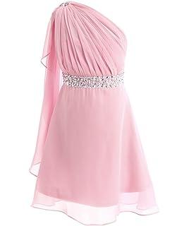 28b0301f522 FAIRY COUPLE Girl s One Shoulder Embellished Short Chiffon Flower Girl Dress  K0140