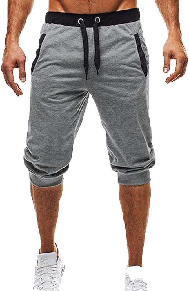 Worclub Hombre Gym 3/4 Pantalones Zip Pocket Fitness Sweatpants 2018 Nuevo algodón Respirable Jogging Running Sport Pant